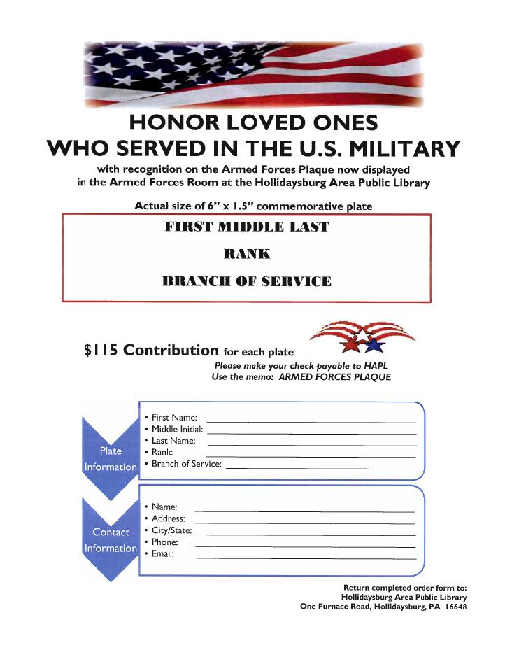Military plaque flyer